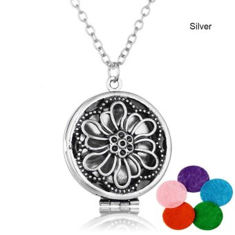 High Quality Store New Womens Fashion DIY Aromatherapy EssentialOil Round Diffuser Locket Pendant Necklace With 5 Felt Pads Silver- intl
