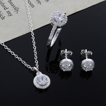 High Quality Store New Womens Silver Plated Crystal Necklace Earring Ring Set Jewelry Silver - intl