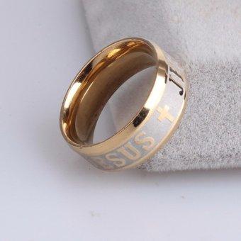 High Quality Titanium Steel Jesus Cross Letter Bible Wedding BandRing Men Women - intl - 5