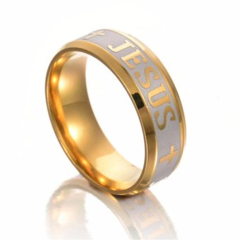High Quality Titanium Steel Jesus Cross Letter Bible Wedding BandRing Men Women - intl
