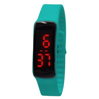 High Quality Unisex Turquoise Jelly Silicone Strap Digital LED Sports Wrist Watch