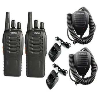 HINTO W-168 UHF 400-470 MHz Signal Frequency Single Band 16Channels Two-Way Radio SET OF2 with 2 pcs Universal HandheldSpeaker-mic for Dual Band Radio Price Philippines
