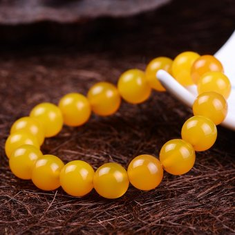 HKS Authentic natural yellow chalcedony crystal bracelet Men Women paragraph Lucky Wang Yun domineering jade jewelry beaded - ball diameter 12mm models - Intl