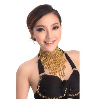 HKS Belly Dance Necklace Small Bell Beads Chain Jointed Pendant Tassel Shiny (Gold) - Intl - picture 2