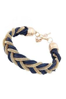 HKS Braided Rope Metal Chain Bracelet - Royal Blue - Intl