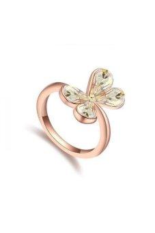 HKS Butterfly Dream Flowers Austria Crystal Ring (Gold) - Intl