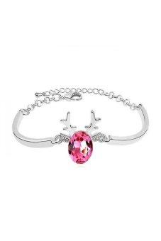 HKS Christmas Reindeer Austria Crystal Bracelet (Rose Red) - Intl