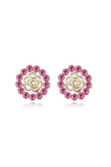 HKS HKS3318QS The Rose Garden Austria Crystal Earrings Rose Red Champagne Gold - Intl - picture 2