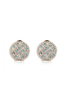 HKS HKS4885Qs Stars With Air Austria Crystal Earrings Ocean Blue Champagne Gold - Intl