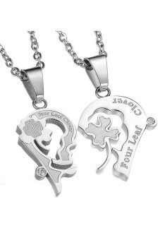 HKS HKS78781224602AI Titanium Steel Clover Heart Couple Necklace White - Intl