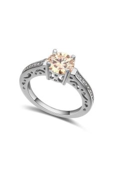 HKS HKS88063QS Meant to be AAA-level micro-inlaid zircon ring (Champagne) - Intl