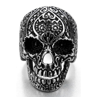 HKS Man Band Ring Skull Classic Stainless Silver - Intl - picture 2