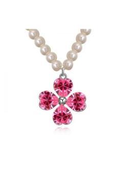 HKS Pearl four-leaf clover Austria Crystal Necklace (Rose Red) - Intl