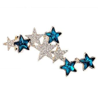 HKS Pentagon Star Left Ear Clip Crystal Earring Occident Style Golden+Blue - Intl