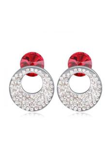 HKS S and F HKS88393Qs Circle In The Round Austria Crystal Earrings (Light Red) - Intl