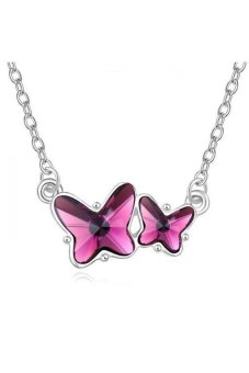 HKS The Mandarin Duck and Butterfly Austria Crystal Necklace (Purple) - Intl