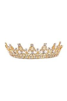 HKS Vintage Crystal Gold Crown Bridal Headwear Wedding Tiara Hair Accessories - Intl