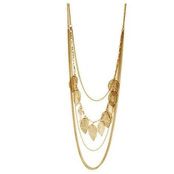 HKS Vintage Leaf Pendant Multi-layer Necklace Long Sweater Chain for Lady Gold - Intl