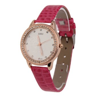 HKS Women Wristwatch Stripe PU Band Alloy Round Face with Crystals Fushcia - Intl