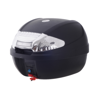 HNJ 002 Tail Trunk Luggage Motorcycle/Scooter TopBox-(Black/MilkWhite)