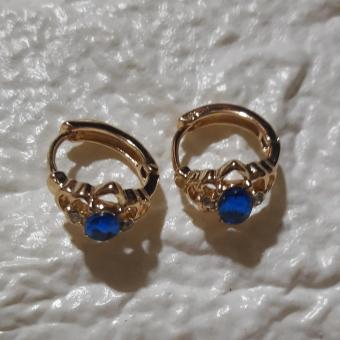 Hoop Earrings with Charm Stone color Royal Blue Hypoallergenic