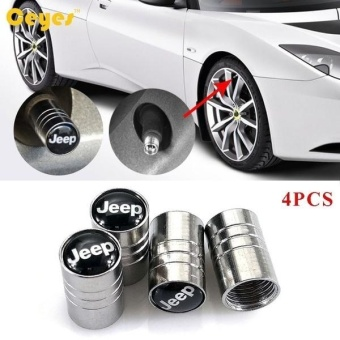 HOT Car Wheel Tire Valves Tyre Stem Air Caps Cover case for Jeepwrangler cherokee patriot grand emblem auto accessories Car-styingStainless Steel 4pcs/set - intl - 2