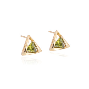 Hot New 18K Gold Plated Triangle Shape Insert Green Crystal Stud Earrings (Intl)