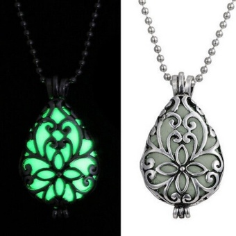 Hot Sale Fashion Silver Glow In Dark Locket Hollow Pendant LuminousWomen Necklace Gifts - intl