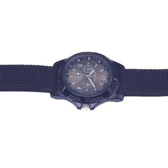 Hot sale Military Quartz Swiss Army Watch Canvas Strap FabricAnalog Clock ( black&black ) - 3