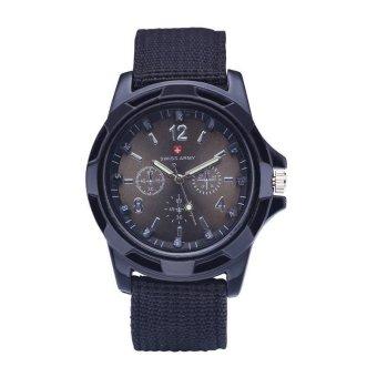 Hot sale Military Quartz Swiss Army Watch Canvas Strap FabricAnalog Clock ( black&black ) - 2