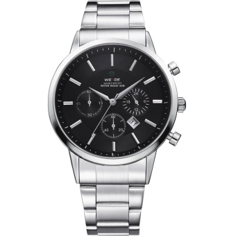 Hot Sales WEIDE WH-3312 Men's Stainless Steel Band Waterproof Analog Quartz Watch with Calendar - Black - intl Price Philippines