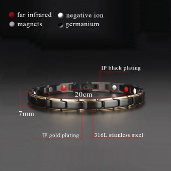 Hottime 4 in 1 Magnetic New Fashion Lovers' Jewelry Steel BlackGold Titanium Bracelet For Women And Men Never Fade Top-Quality10089 - intl - 3