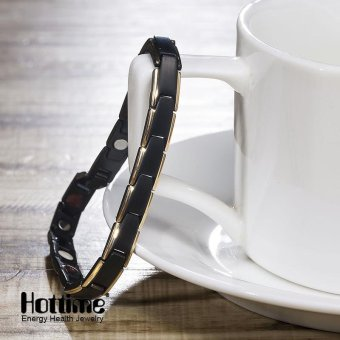 Hottime 4 in 1 Magnetic New Fashion Lovers' Jewelry Steel BlackGold Titanium Bracelet For Women And Men Never Fade Top-Quality10089 - intl - 2