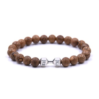 HYHONEY Vintage Men bracelet Barbell Accessories 8mm Beads natural Wood Beaded Elastic bracelets - intl
