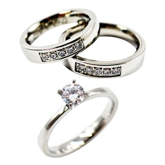I am Wengski 5-Stone Half Eternity Couple Wedding Ring (Silver)with I am Wengski Plain Tiffany Engagement Ring (Silver)