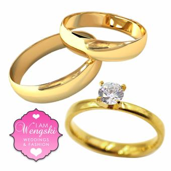 I am Wengski Classic Plain Couple Wedding Ring (Gold) with I amWengski Tiffany Engagement Ring (Gold)