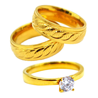 I am Wengski Dencio Couple Wedding Ring (Gold) with Free I amWengski Plain Engagement Ring (Gold)