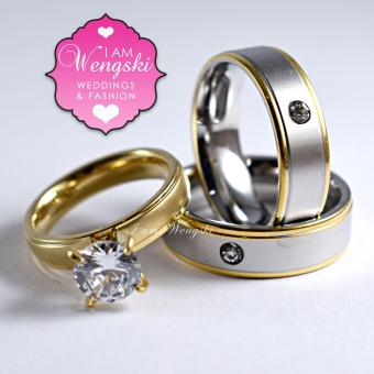 I am Wengski Derek Couple Wedding Ring (Two-Toned) with I amWengski Zoe Engagement Ring (Gold)