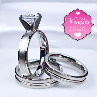 I am Wengski Emmanuel Couple Wedding Ring (Silver) with I amWengski Zoe Engagement Ring (Silver)