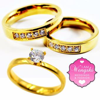 I am Wengski Half Eternity Couple Wedding Ring (Gold) with I amWengski Plain Engagement Ring (Gold)