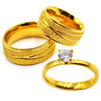 I am Wengski Stainless Steel Achilles Couple Wedding Ring (Gold)with I am Wengski Plain Engagement Ring (Gold)