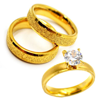 I am Wengski Stainless Steel Santino Couple Wedding Ring (Gold)with I am Wengski Zoe Engagement Ring (Gold)