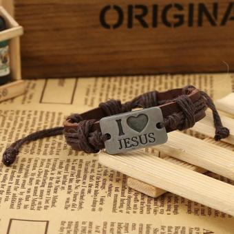 I Love JESUS - Fashion Handmade Bracelet Leather and Stainless Steel Alloy Bangles for Men and Women, Charm Cuff Jewelry Religious Items