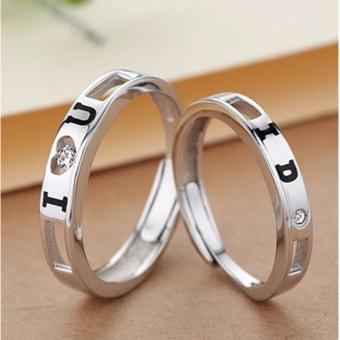 I Love You, I Do Silver Plated Couple Ring Adjustable High Quality Fashion Ring - 2