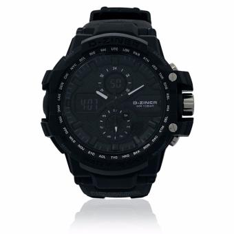 Harga D-ZINER DZ-8025 Black Resin Dual Time Men's Sports Analog Digital Watch WR10BAR (Black)