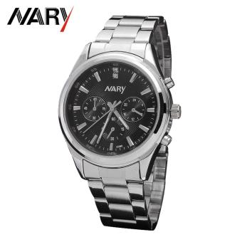 Harga Nary Stainless Steel Strap Men's Watch NR6098-2 (Silver/Black)