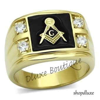 Harga NEW FASHION 18K GOLD PLATED Masonic Memorial religious Men's ring Size 8 9 10 11 12 13 - intl
