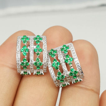 Women Classic Jewelry Gemstone Emerald Stud Earrings 925 Sterling Silver Price Philippines