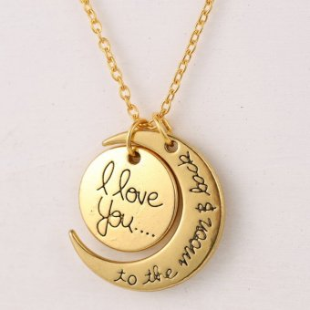 "360WISH Romantic ""I Love You To The Moon and Back""Moon Sun Two-Piece Pendant Necklace Fashion Jewelry for Women and Men - Golden Price Philippines"