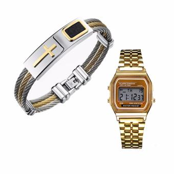Harga Cross Jesus Premium Stainless Steel Bracelet and with Landfox Women's Gold Stainless Steel Strap Watch